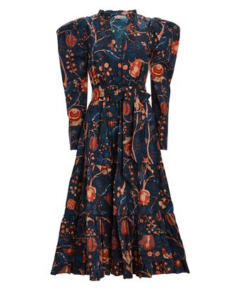 Nanette Floral Poplin Midi Dress, NAVY, hi-res