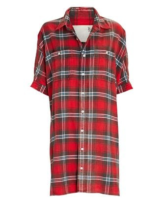Oversized Plaid Flannel Shirt Dress, RED, hi-res