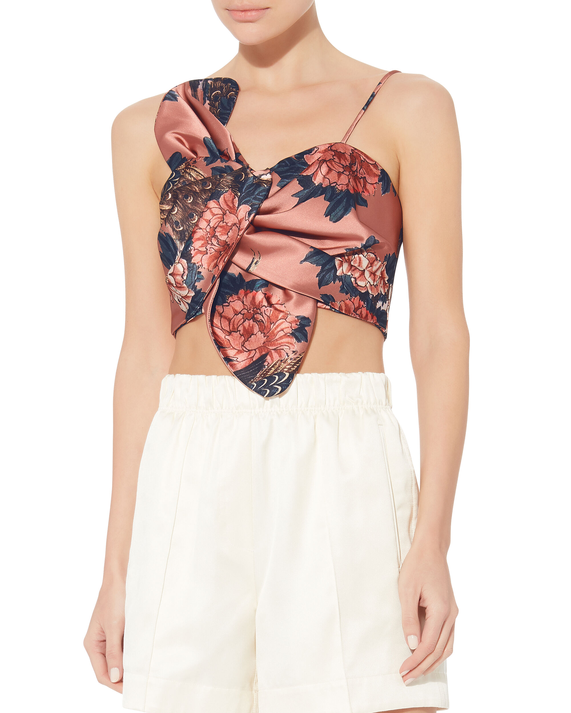 Knot Front Crop Top, MULTI, hi-res