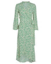 Floral Crepe Wrap Dress, GREEN-LT, hi-res