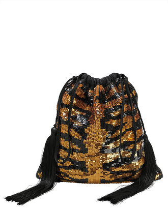 Tiger Sequin Pouch Clutch, MULTI, hi-res