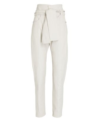 Eldred Belted Leather Pants, IVORY, hi-res