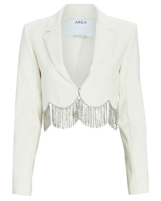Crystal Fringed Cropped Blazer, IVORY, hi-res