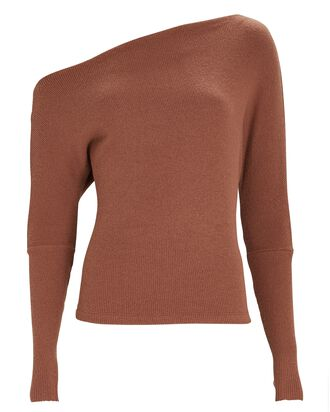 Slouch Rib Knit Top, BROWN, hi-res