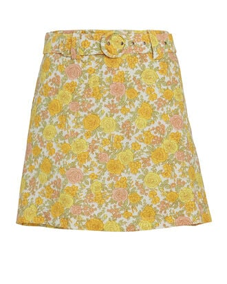 Celia Belted Floral Linen Skort, LIGHT YELLOW/PINK, hi-res
