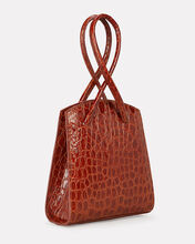 Twisted Croc-Embossed Leather Wristlet, BRICK RED, hi-res