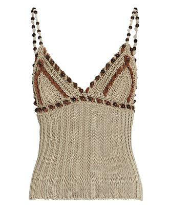 Beaded Knit Camisole, BROWN, hi-res