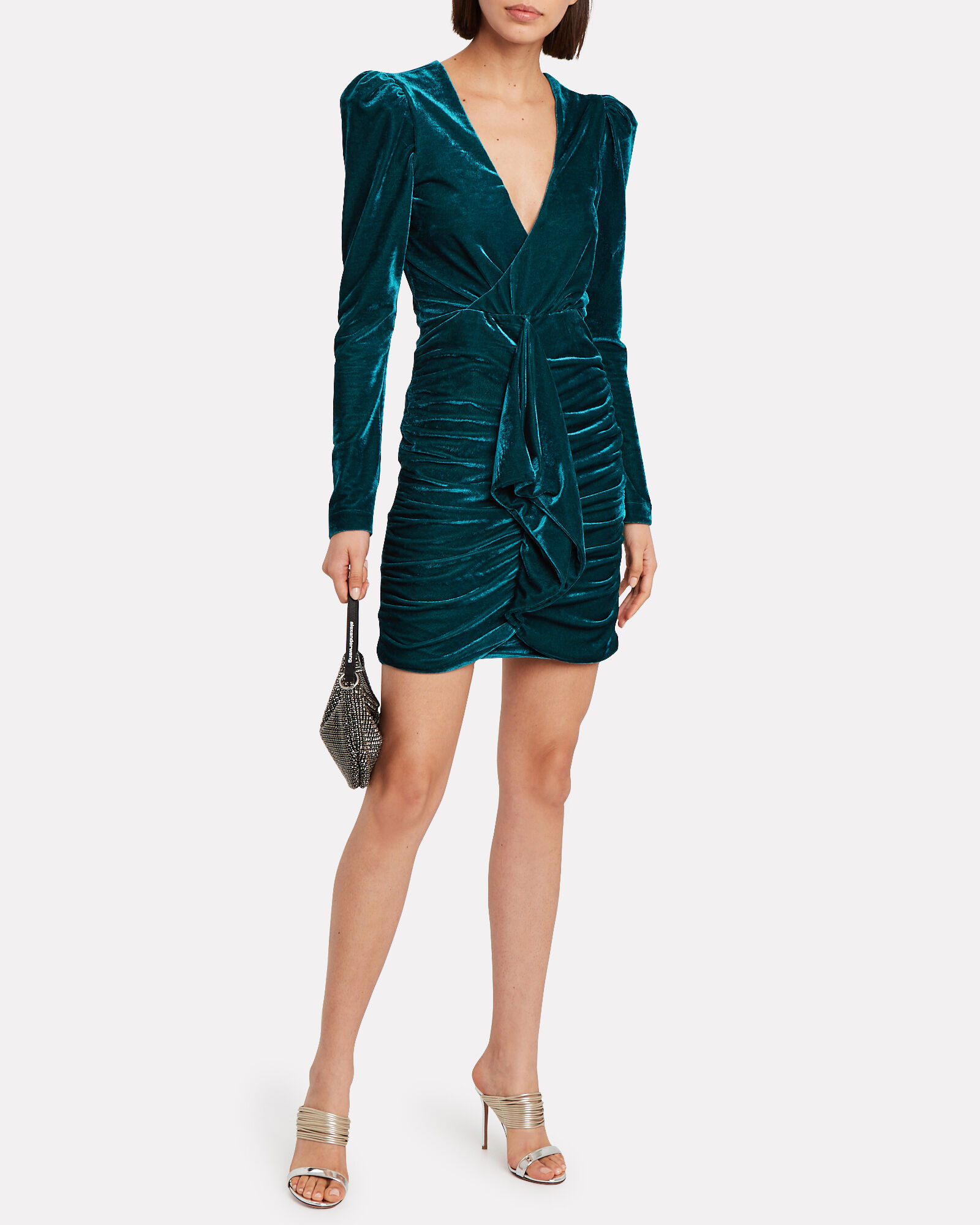 Ruched Velvet Mini Dress, TURQUOISE, hi-res