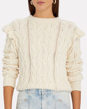 Sofia Ruffled Cable Knit Sweater, IVORY, hi-res