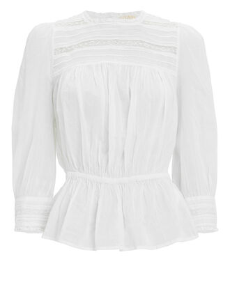 Cotton Lace Blouse, WHITE, hi-res