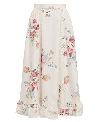 Navya Floral Silk Skirt, CREAM/FLORAL, hi-res