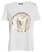 Medallion Crew Jersey T-Shirt, WHITE, hi-res
