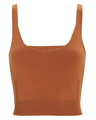 Laine Sleeveless Knit Crop Top, BROWN, hi-res