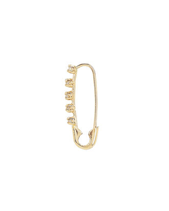 Diamond Safety Pin Single Stud Earring, GOLD, hi-res