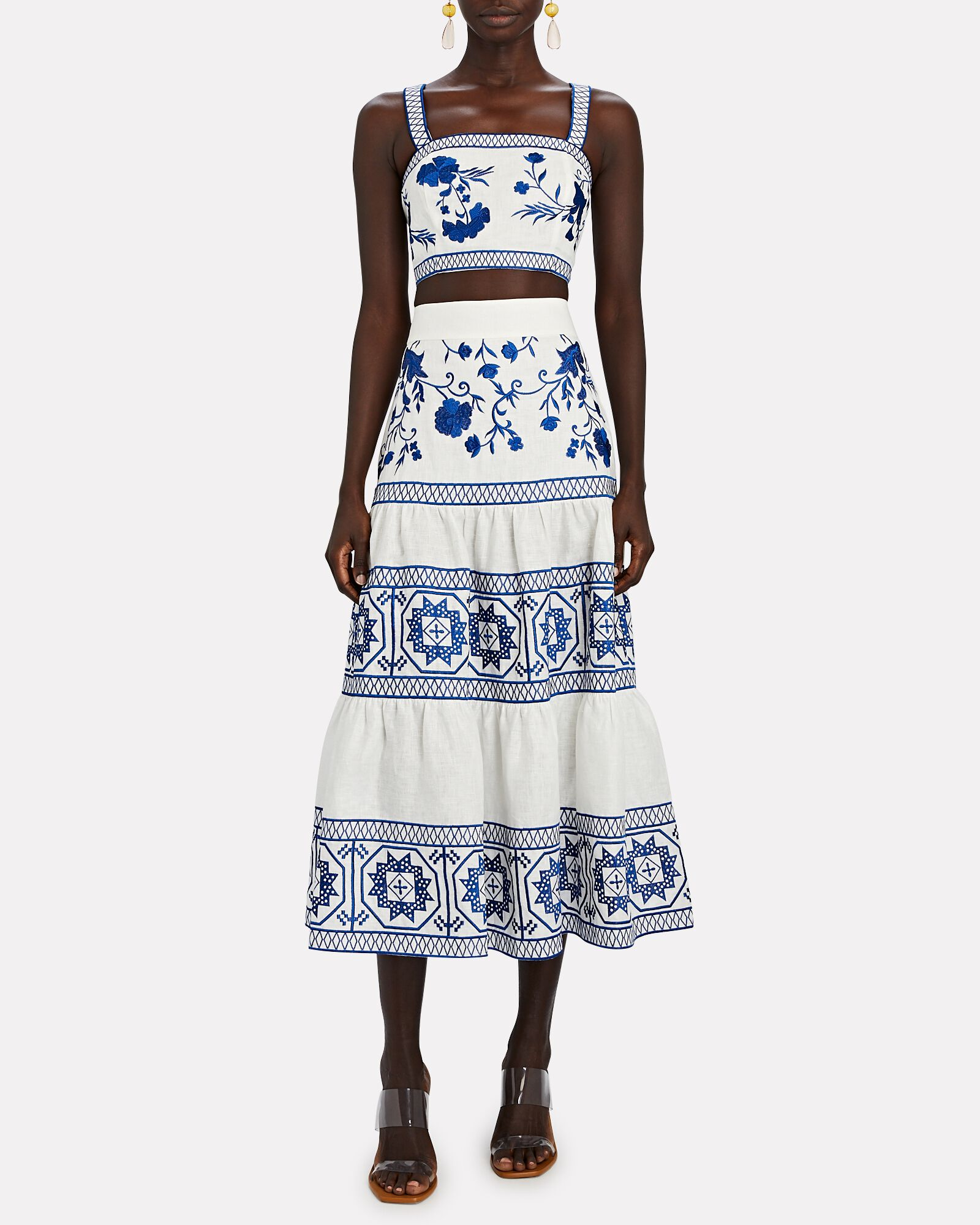 Deena Embroidered Tiered Midi Skirt, WHITE, hi-res