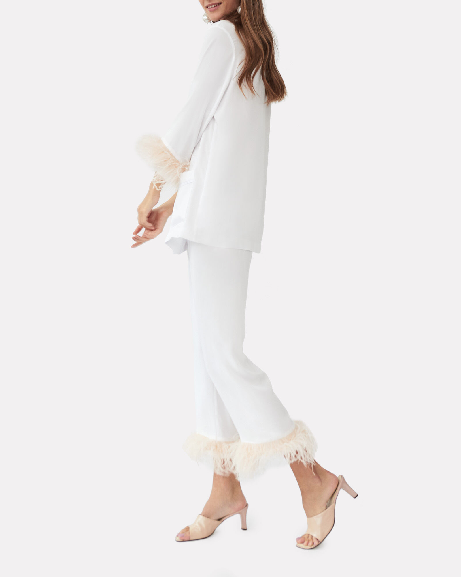 Feather-Trimmed Party Pajama Set, WHITE, hi-res