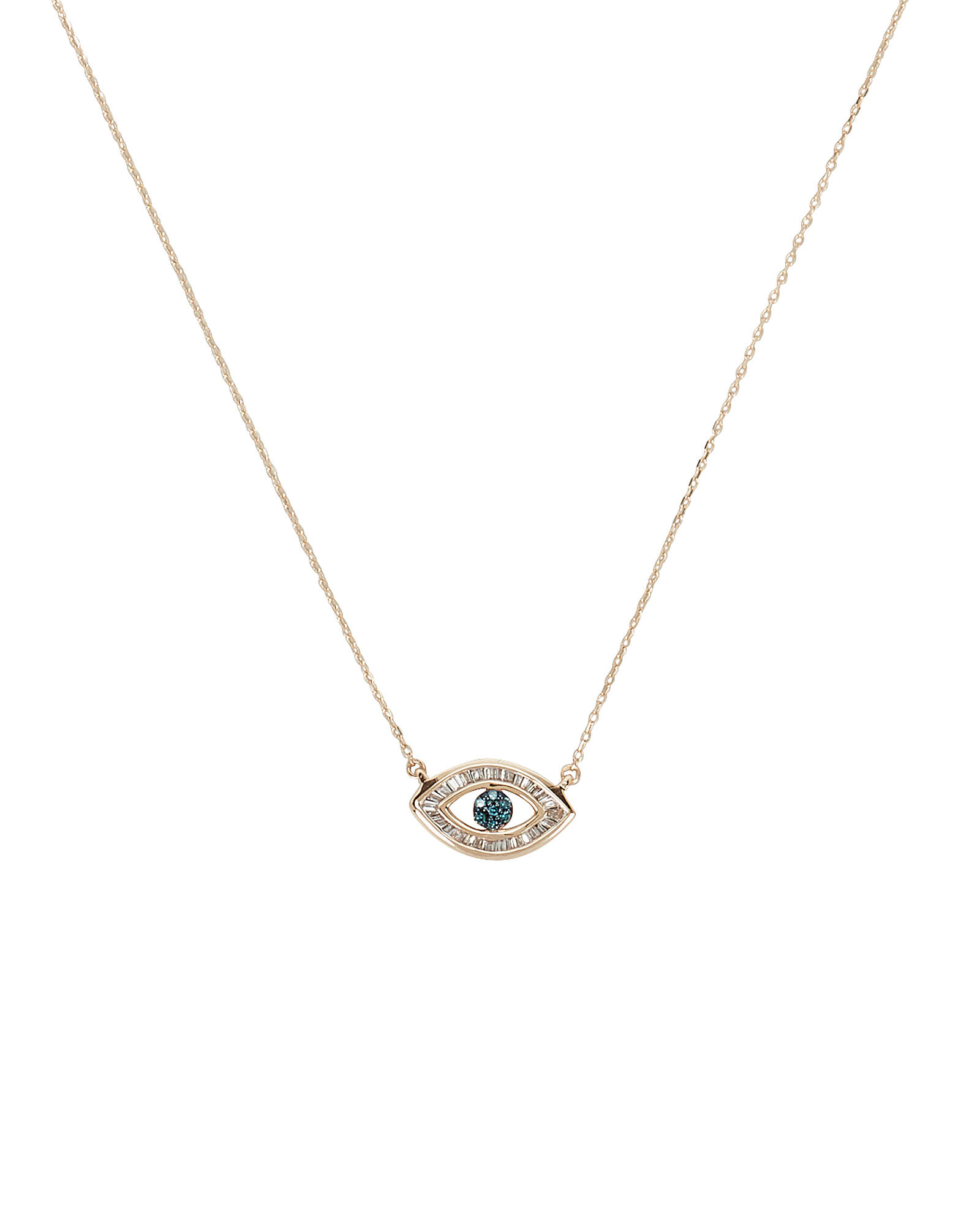 Baguette Evil Eye Necklace, GOLD, hi-res