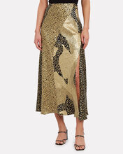 Parker Metallic Leopard Slip Skirt, MULTI, hi-res