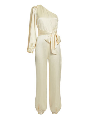 One Shoulder Belted Jumpsuit, IVORY, hi-res