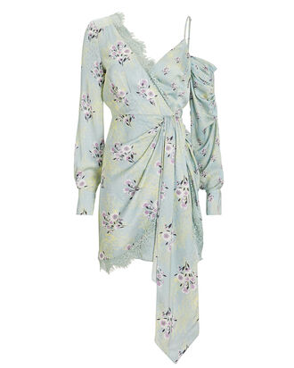 Floral Asymmetric Crepe Dress, MINT, hi-res