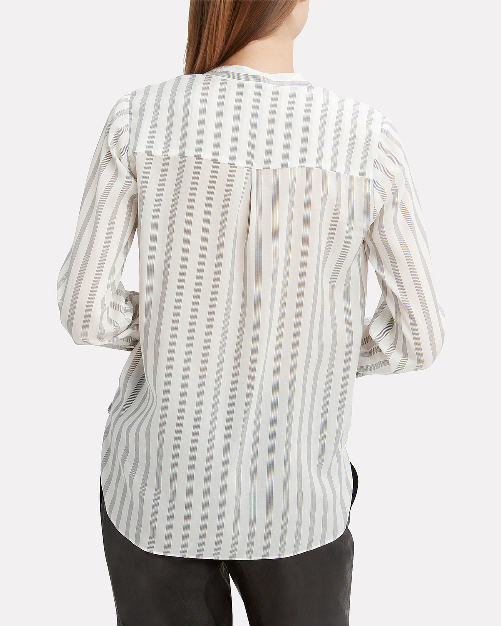 Kyla Drape Front Striped Blouse, BLK/WHT, hi-res