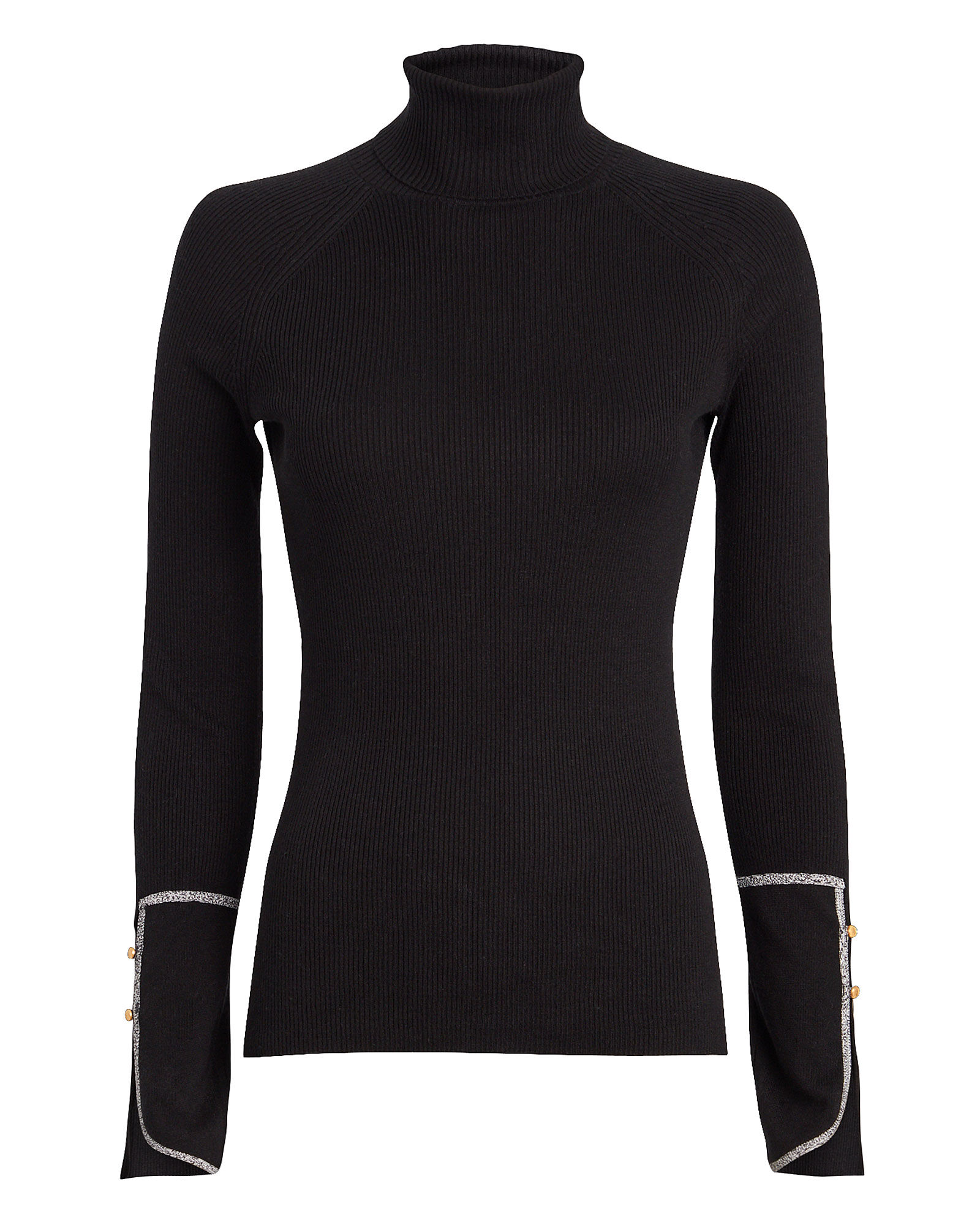 Silk Cashmere Rib Knit Turtleneck, BLACK, hi-res
