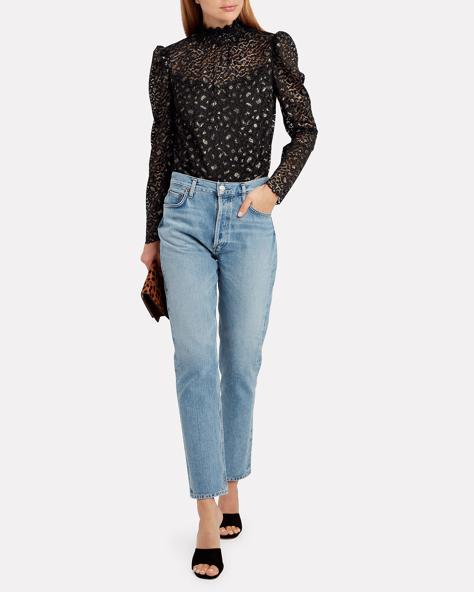 Annabelle Cheetah Lace Blouse, BLACK, hi-res