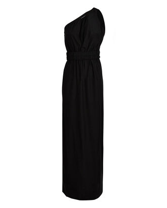 Tokyo One-Shoulder Silk Dress, BLACK, hi-res