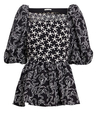 Irene Snake Printed Crepe Blouse, BLACK/WHITE, hi-res