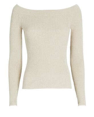 Isabella Rib Knit Boat Neck Top, BEIGE, hi-res