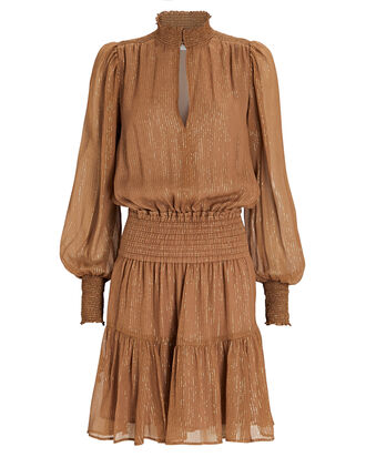 Silvie Lurex Striped Silk Chiffon Dress, BROWN, hi-res