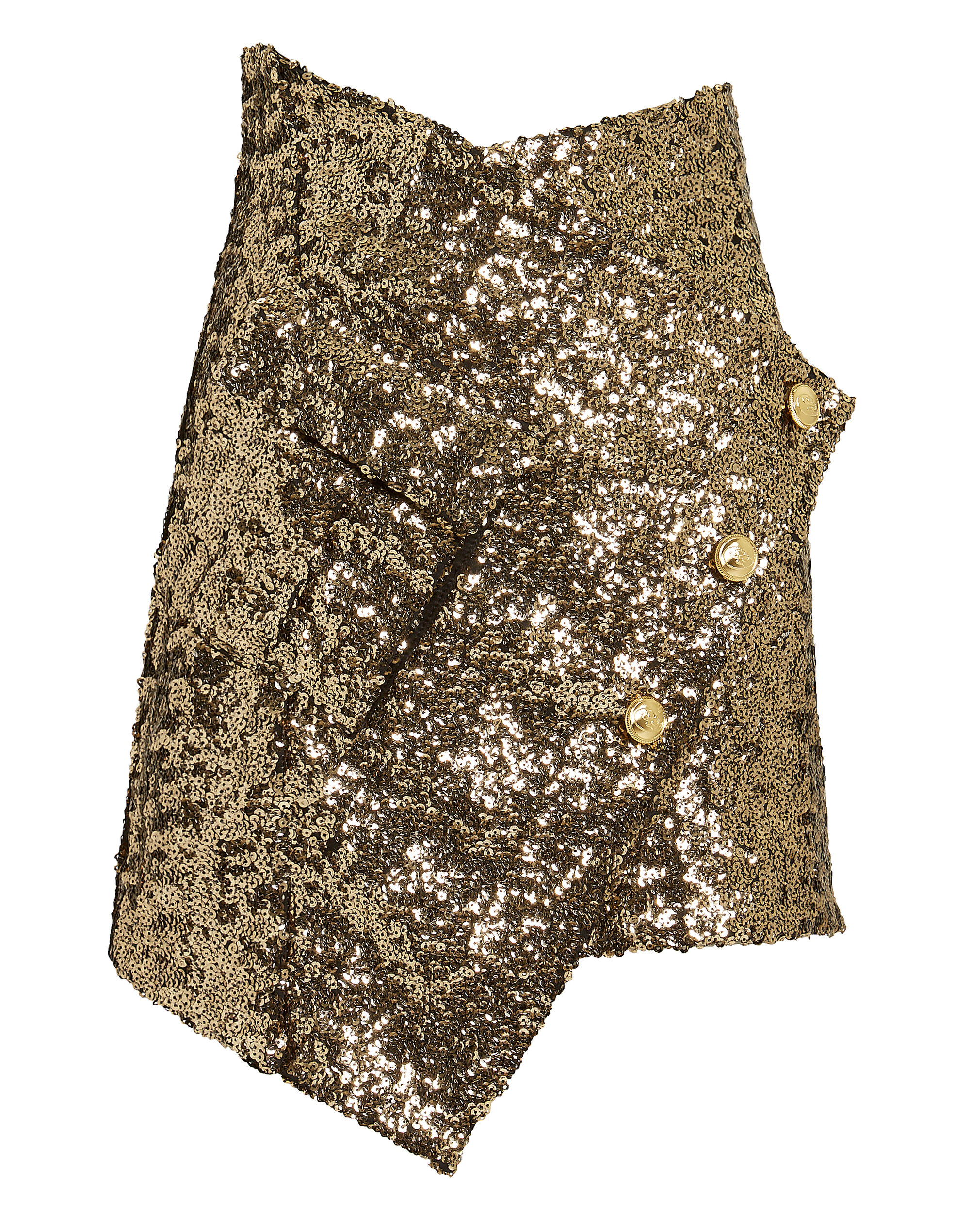 Asymmetrical Gold Sequin Skirt, GOLD, hi-res
