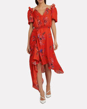 Dana Floral Dress, RED, hi-res