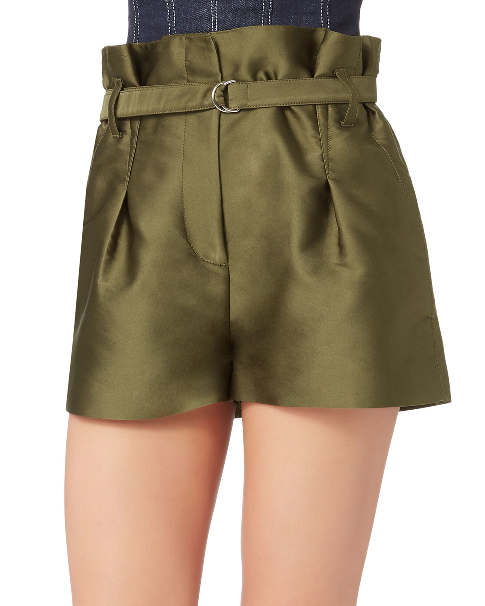 Origami Pleated Satin Shorts, GREEN, hi-res