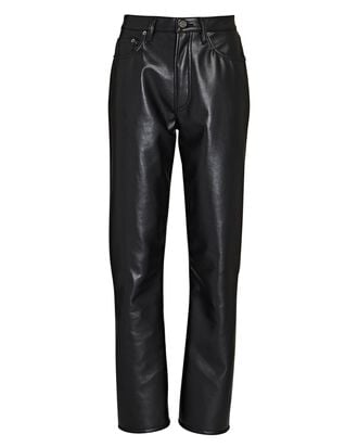 Relaxed Recycled Leather Boot Pants, BLACK, hi-res