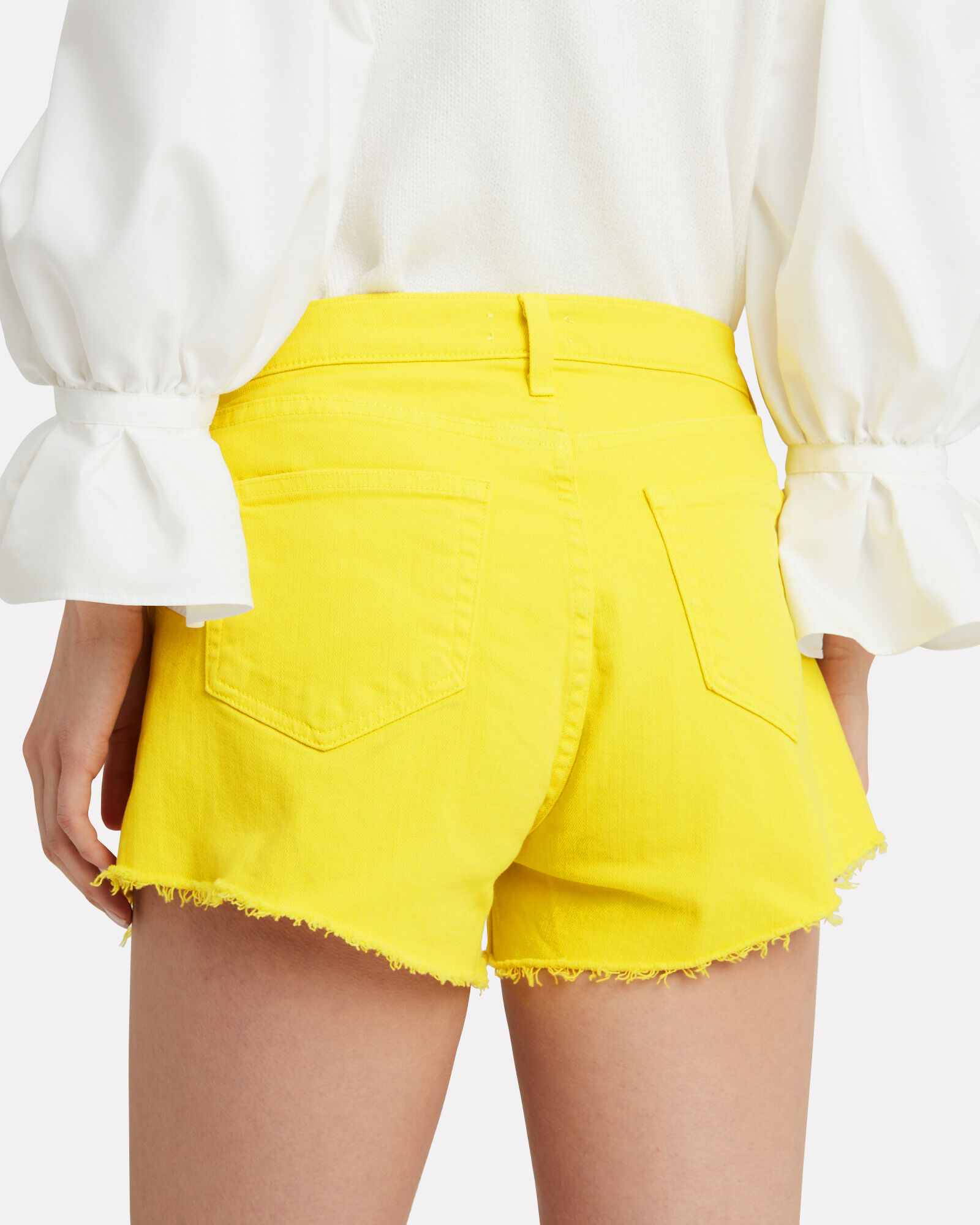 Ryland Denim Shorts, YELLOW, hi-res