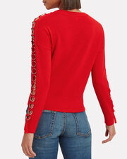 Metal Detail Open Sleeve Sweater, RED, hi-res