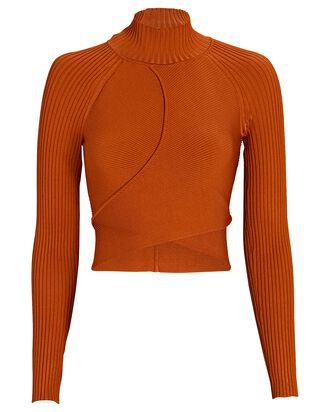 Camila Cut-Out Turtleneck Top, BROWN, hi-res