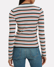 Striped Knit Sweater, BLUE/WHITE/RED, hi-res