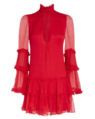 Naoko Ruffle Mini Dress, RED, hi-res
