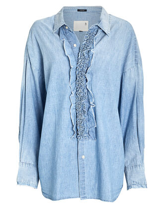 Oversized Chambray Tuxedo Shirt, LIGHT WASH BLUE, hi-res