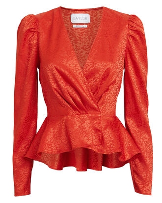 Easton Satin Jacquard Blouse, RED, hi-res