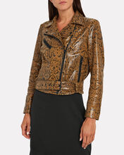 Mercy Snake-Embossed Leather Jacket, MULTI, hi-res