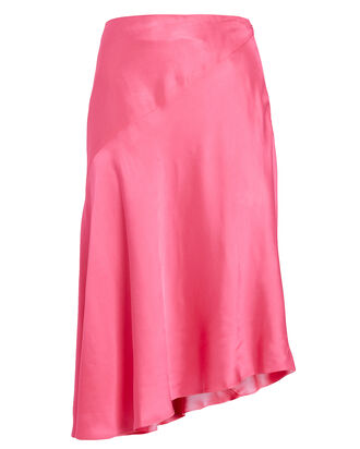 Asymmetrical Satin Skirt, PINK, hi-res