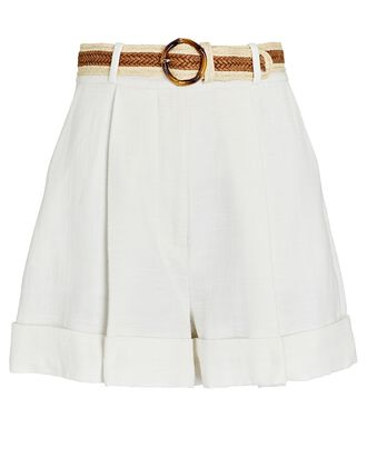 Andie Belted Linen Shorts, IVORY, hi-res