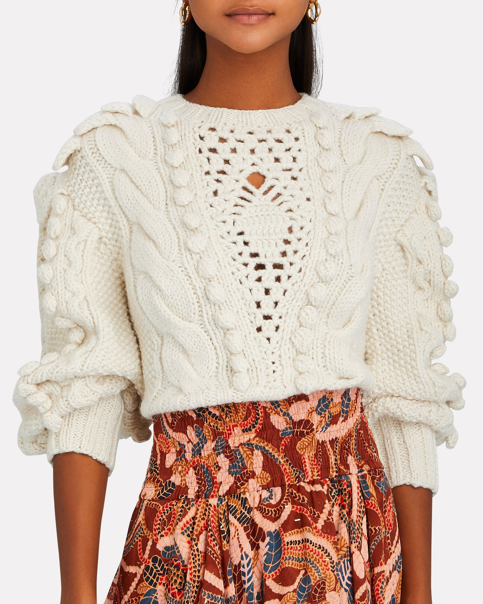 Verena Cable Knit Wool Sweater, IVORY, hi-res