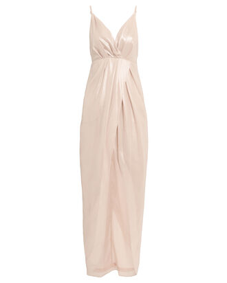 Metallic Pleated Slip Dress, ROSE, hi-res
