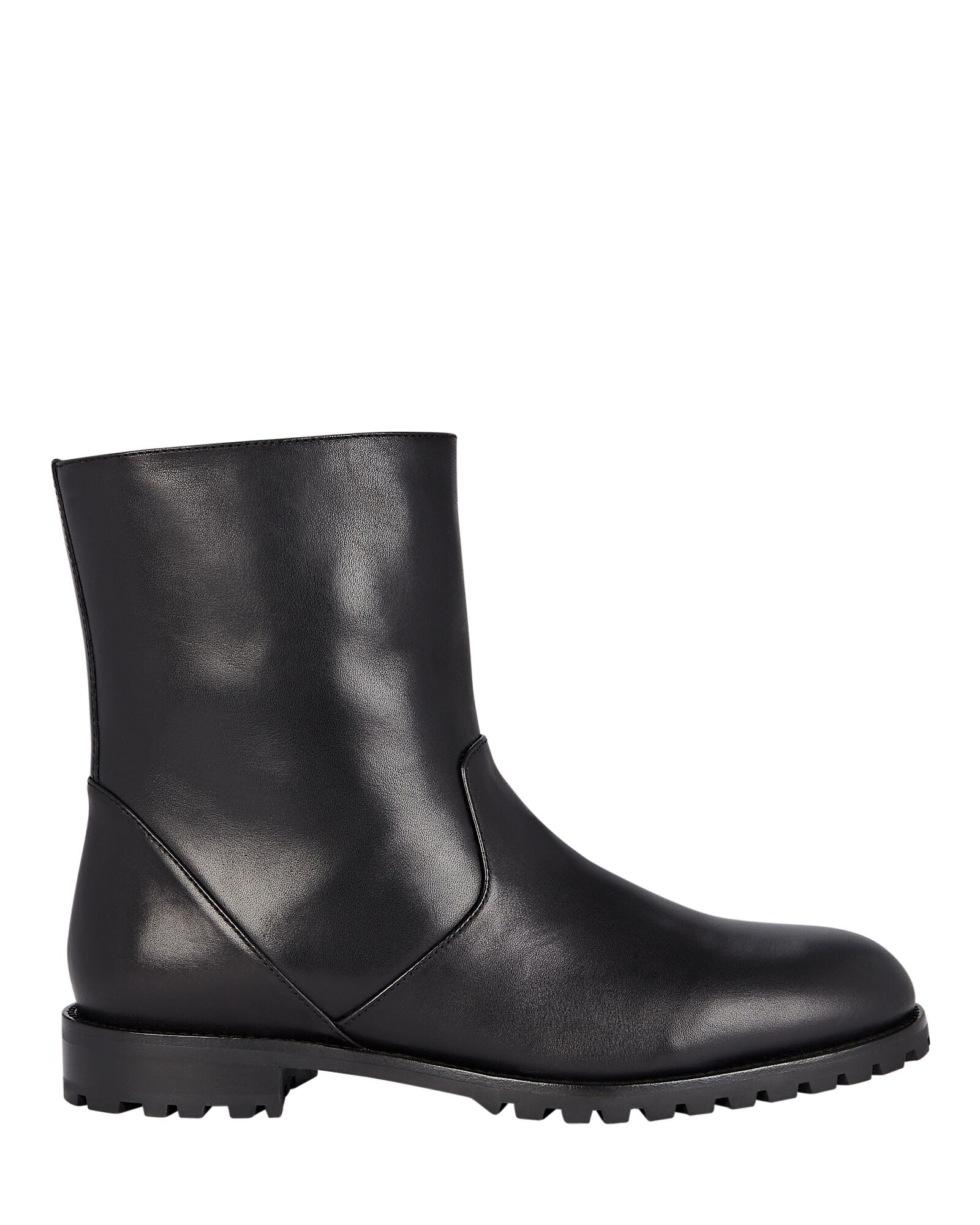 Motosa Leather Flat Ankle Boots, BLACK, hi-res