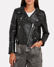 Hanna Shearling-Trimmed Moto Jacket, BLACK, hi-res