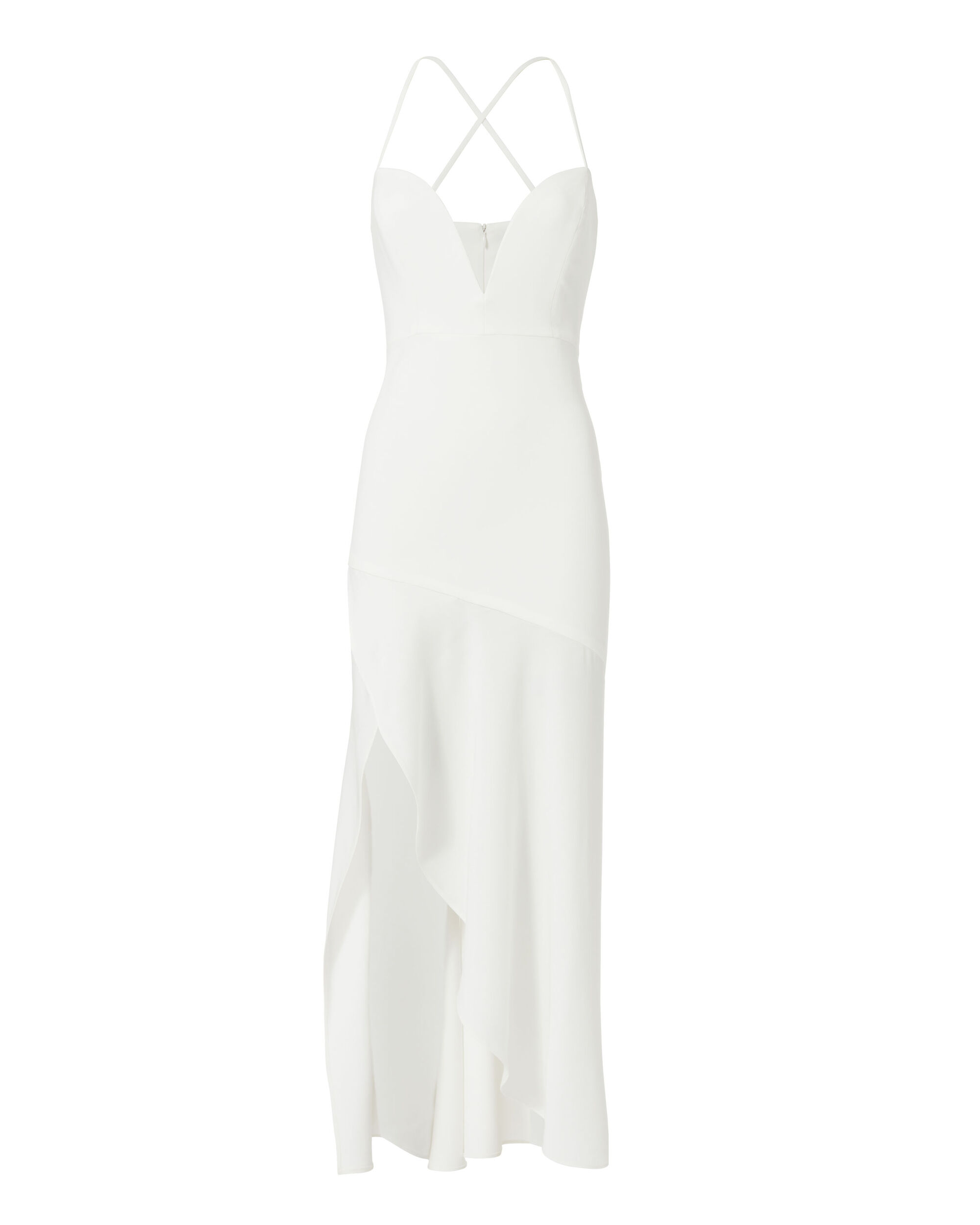 Plunging Neck White Evening Dress, WHITE, hi-res
